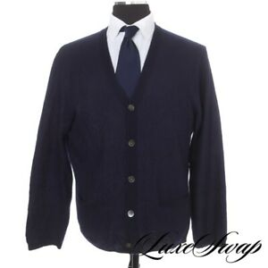 #1 MENSWEAR Polo Ralph Lauren Basketweave Linen Cashmere Royal Blue Cardigan L