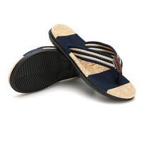 7fc2eb08c0e6 Men s Flip Flops Comfort Slippers Thong Sandals Textile Strap Summer Beach  Shoes