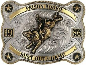 Montana Silversmiths Prison Rodeo Starred Attitude Belt Buckle
