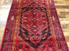 """4'5""""X7'8"""" Handmade wool Authentic Vintage Hamedan Geometric Oriental area rug"""