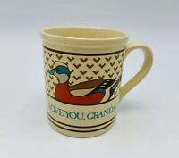 Vintage Enesco Love You Grandad Mallard Duck Gift Coffee Mug Cup Grandpa 1987