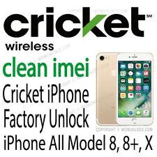 Cricket Factory Unlock Service iPhone 5 5c 5s SE 6 6+ 6s 6s+ 7 7+ 8 8+ X Clean