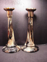 """Brush McCoy Onyx Candlesticks Pair Candle Holders 10.5"""" tall Awesome Glaze"""