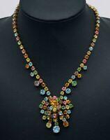 Fabulous Vintage Colourful Paste Parure of Chandelier Necklace Earrings & Brooch