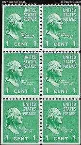 US WASHINGTON 1¢ BOOKLET PANE OF 6 MINT NEVER HINGED ORIGINAL GUM SC 804b VFINE