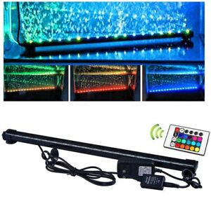 For Aquarium Fish Tank Submersible Air Bubble Curtain RGB LED Light Bar + Remote