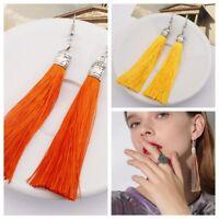 Fashion Jewelry Long Tassel Earrings Fringe Boho Hook Drop Dangle Eur NEW