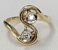 Vintage Antique 18K & Platinum Two Stones Diamond Ring Size 4 3/4