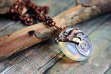 Moonstone Opalite Wolf & Full Moon Gemstone & Copper Necklace Handmade Jewellery