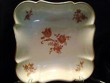 Vintage Limoges France Porcelain Square Curve Design Bowl with Gold Flowers