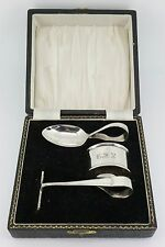 RARE Sterling Silver Boxed Baby Pusher, Spoon & Napkin Ring.  NICE1