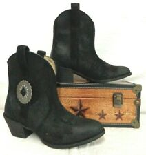 Ariat Cantina Western Boot 10029672 Concho Detailing Pull-On Black Suede $170
