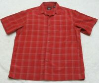Haggar Red Pocket Dress Shirt Mens Short Sleeve Striped Top Size Large Polyester