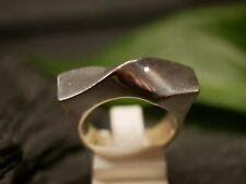 Großer 925 Silber Ring Breit Geschwungenes Design Gedreht Eckig Lang Modern