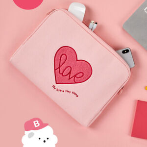 "11"" Pink Heart Love Tablet ipad Padded Waterproof Canvas Zipper Bag Case Pouch"