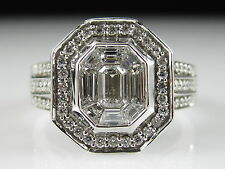 Diamond Ring 1.32cttw 14K White Gold Engagement Cluster Cocktail Invisible $5000