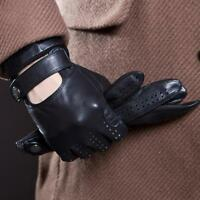 MENS CLASSIC DRIVING GLOVES SOFT GENUINE REAL LAMBSKIN LEATHER BLACK