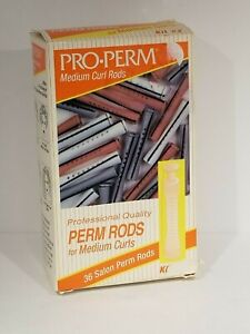 Perm Rods 36 White Pink Gray Pro Perm Medium Curl Original Box NOS Vintage
