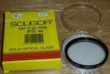 FILTRO UV (1A) SOLIGOR DIAMETRO 52 mm NUOVO SCATOLA SOLID OPTICAL GLASS PERFETTO