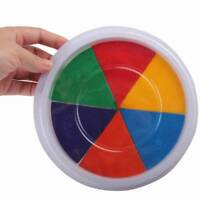 Colorful DIY Ink Pad Stamp Finger Painting Craft Large Round Kid Drawing Toys