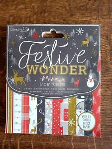 Festive wonder pad 6x6  36 sheets contains glitter designs 150 GSM new