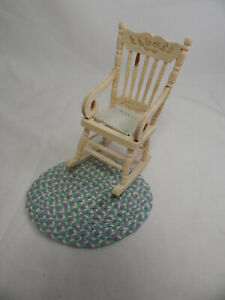 Dollhouse Miniature 1:12 Scale Rocker Rocking Unpainted Chair With Rug #Z212-E