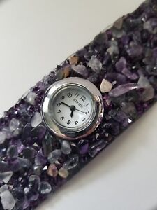 Watch, Strada Natural Amethyst Wide Band Ladies