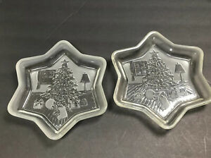 Christmas Tree Serving Tray Frosted and Clear Star Molded Glass Display Bowl