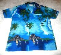 Vtg Rai Nani Authentic Hawaiian Shirt Men's M Blue 100% Polyester Island Scenes