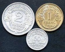 1945 France 2 Franc 1938 1 Franc & 1942 Centimes Coins