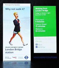 TFL London 2012 Olimpiadi Londra Mappa da passeggio STAZIONE PONTE DI LONDRA SOUVENIR