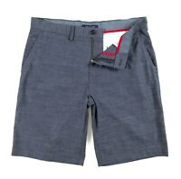 "TOMMY HILFIGER Shorts Men's Lightweight Navy Blue Tonal Stripe 10"" Shorts"