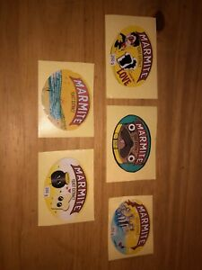 Marmite HOMEMADE SET OF 5 Stickers South African design. Collectable, labels