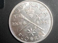 1951 Australian Federation Silver 2/- TWO Shilling Florin KING GEORGE VI  UNC