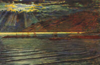 Beautiful Oil painting Fishing boats in moon night - Moonlight landscape
