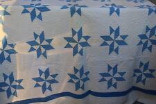 OLD 8 PT STAR QUILT BLUE/WHITE HAND STITCHED 75 X 81  ESATE FIND