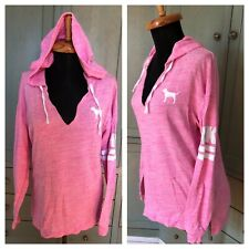 Victoria Secret Pink Oversize XS Hoodie Cotton Knit Blend Pullover Top Womens