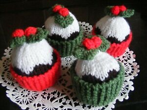 4 Christmas Pudding Cupcakes - hand knitted