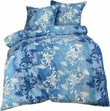 4-tlg. Bettwäsche 155x220cm blau weiß Ornamente mit Reißverschluss Garnitur Set