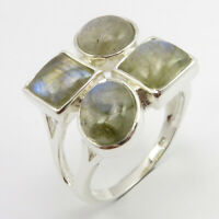 925 Stamp Solid Sterling Silver Natural Labradorite Ring Size 9 Handmade Jewelry