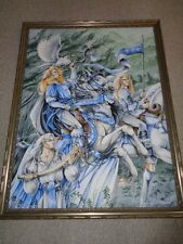 Large Painting Horns of Elfland Acrylic on board fantasy theme warriors horses