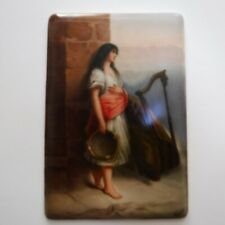 Antique 19th Century Signed Wagner Hand Painted Porcelain Homeless Stray Tile
