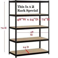 Heavy Duty Steel Storage Shelf Rack 5 Adjustable Shelves Garage 4000 Lbs. 2 Set