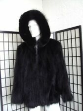 BRAND NEW BLACK RACCOON RACOON FOX FUR BOMBER JACKET COAT  W/HOOD MEN MAN SZ ALL