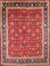 All-Over Pattern Floral Red 10x13 Tabriz Persian Oriental Area Rug Wool Carpet