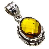 """FACETED CITRINE GEMSTONE 925 STERLING SILVER HANDMADE JEWELRY PENDANT 0.98"""""""