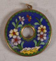 Necklace Pendant Cloisonne Circle Flowers Butterfly Blue Green Vintage