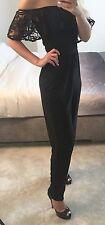 Jumpsuit  Bardot lace frill  Black  John Zack