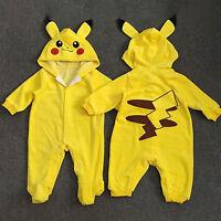 Newborn Baby Boys Girls Pokemon Pikachu Hooded Jumpsuit Romper Playsuit Clothes