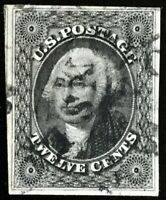 #17 XF Used, Choice 12c Full Black 1851 Washington w/PF Cert. SMQ $500